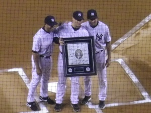 Andy Pettitte honored pre-game Wednesday September 25th.  Mariano Rivera and Derek Jeter present him with a plaque at home plate.